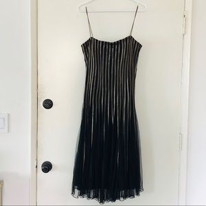 JS Collections Petite Formal Black and Gold Dress